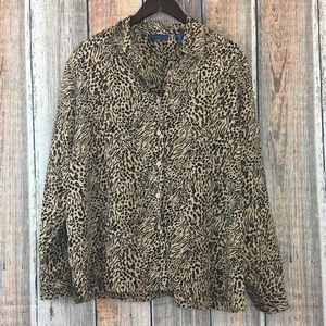 Karen Scott | Animal Print Button Up